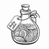Potion Magic Bottle Coloring Vector Calming Graphic Antistress Abstract sketch template