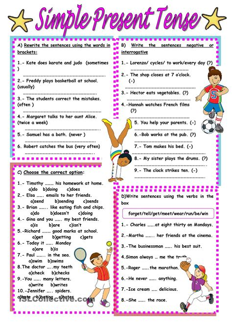 simple present tense worksheet free esl printable