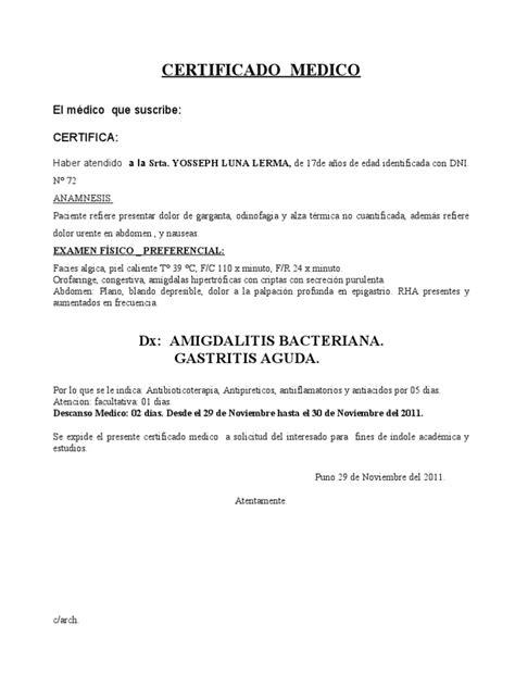 certificado medico estudios