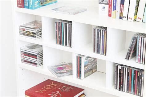 dvds und cds aufbewahren im ikea kallax regal ikea hacks pimps new swedish design