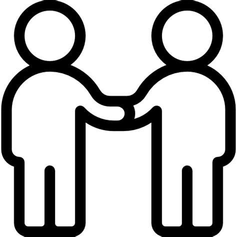 handshake relations stick man people conversation icon