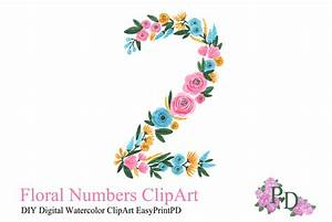 Floral Number Two Clipart ~ Illustrations ~ Creative Market