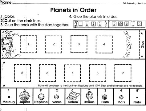 planets cut and paste worksheets page 2 pics about space
