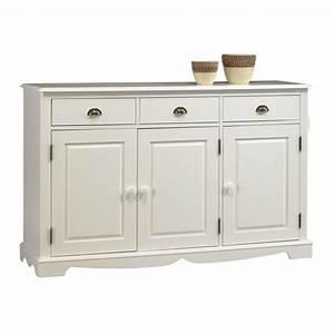 Bahut Bois Blanc : buffet blanc 3 portes 3 tiroirs de style anglais maison et styles ~ Teatrodelosmanantiales.com Idées de Décoration