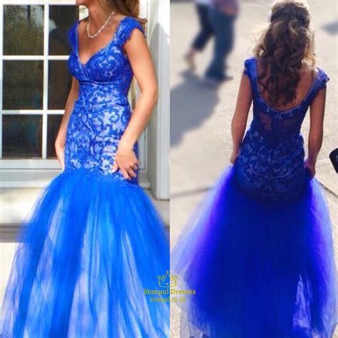royal blue  neck backless embellished mermaid long prom