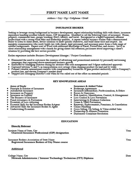 insurance broker resume template premium resume sles