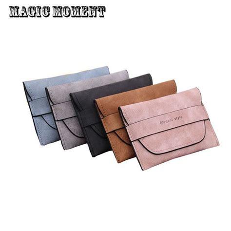 Dompet Kartu Mini Dompet Lipat sihir saat merek wanita dompet kulit nubuck tunggal lipat
