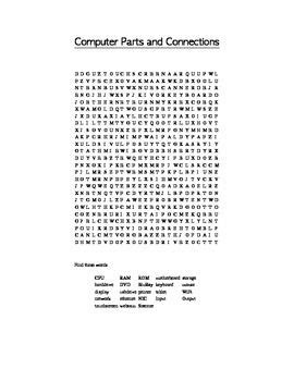 computer parts  connections vocabulary word search