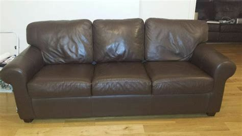 Leather Settees For Sale Uk by Ektorp Ikea Brown Leather 3 Seater Sofa For Sale In