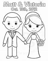 Coloring Pages Groom Bride Printable Personalized Party Activity Pdf Colouring Crafts Books Kid Favor Childrens Drawing Weddings Booklet Favors Colour sketch template