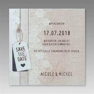 Save The Date Karte : kreative save the date karte im leinendesign ~ A.2002-acura-tl-radio.info Haus und Dekorationen