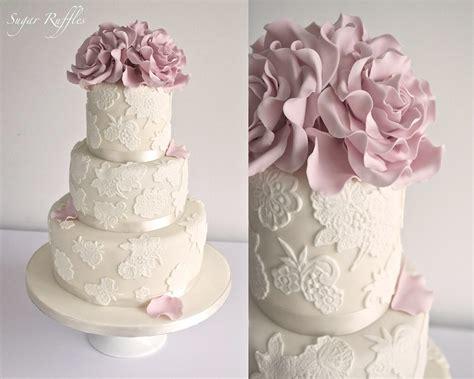 lace wedding cake  dusky pink roses charlotte flickr