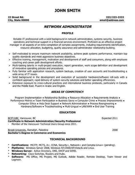 Networking Resumes by Network Administrator Resume Template Premium Resume Sles Exle