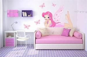 stickers muraux chambre fille fees papillons kit With chambre bébé design avec fleurs de bach n 58