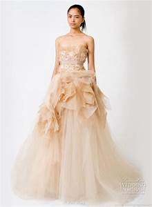 Tony39s blog peach color strapless wedding dress from vera for Peach wedding dress