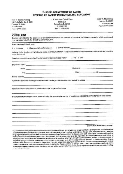 This page is all about addressing the insurance (life, health & general) complaints. Complaint Form - Illinois Department Of Labor - Division Of Safety Inspection And Education ...