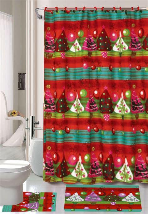 piece christmas tree theme shower curtain set ebay