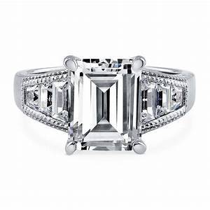 Berricle sterling silver emerald cut cz solitaire for Emerald cut cz wedding rings