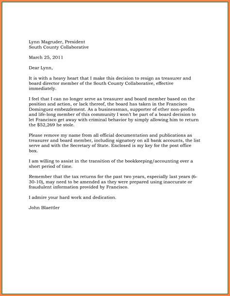 board resignation letter 5 effective immediately resignation letter exles