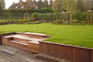 amenagements jardin muret soutenement terrasse acces With muret de soutenement jardin