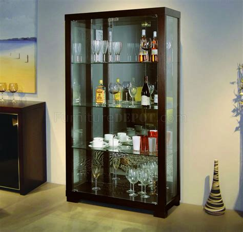 Glass Cabinet by Wenge Finish Contemporary Glass Door China Cabinet