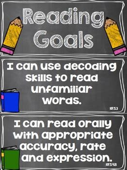 reading goals clip chart  grade  rundes room tpt