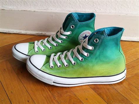 New Pair! Tropical Green Ombre Converse, High Tops, All