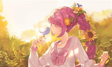 Anime Girl Closed Eyes
