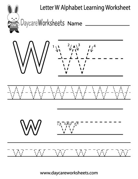 free letter w alphabet learning worksheet for preschool 726 | letter w alphabet learning worksheet printable