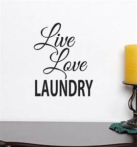 live love laundry decor wall decal with pretty script With script letter wall decals