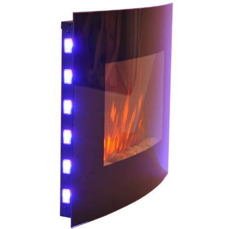 homcom large led curved glass electric wall mounted fire