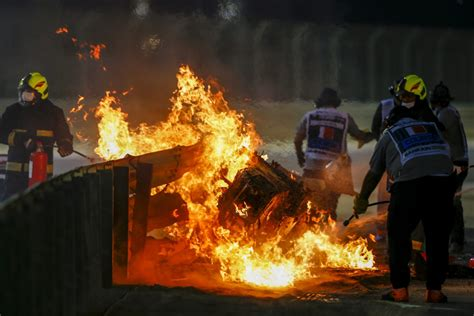 romain grosjean escapes fiery crash  bahrain grand prix