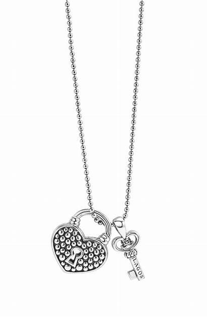 Necklace Rose Gold Key Heart Pendant Diamond