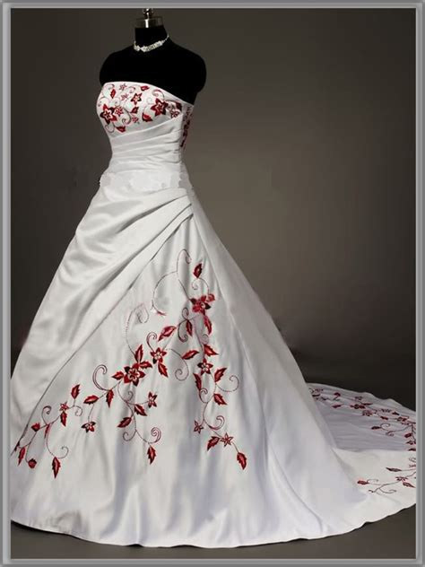 Strapless Red And White Wedding Dress Sang Maestro