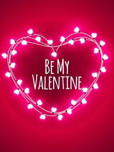 pink lights happy valentines day card birthday