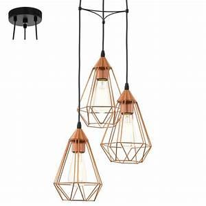 Suspension Filaire Cuivre : suspension tarbes cuivre 3 lampes eglo 94196 pas cher ~ Teatrodelosmanantiales.com Idées de Décoration