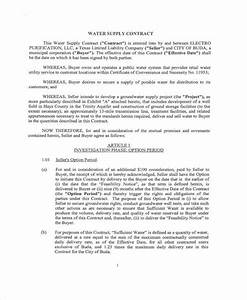contract forms in pdf With water supply agreement template