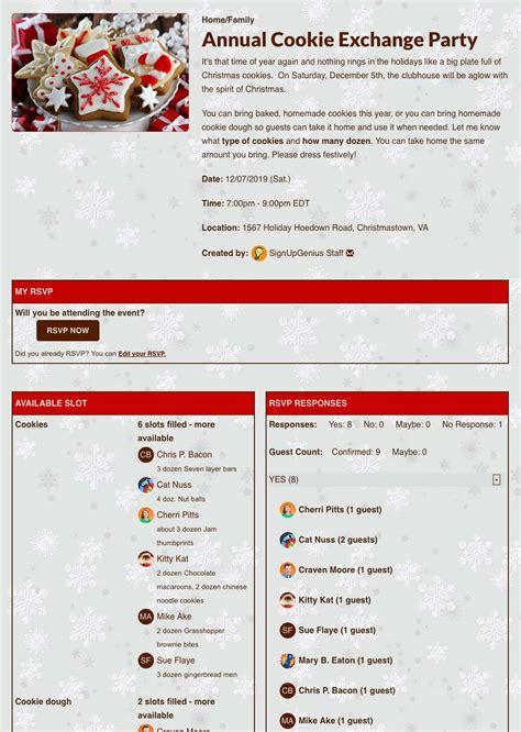 christmas party  holiday potluck planning  signupgenius