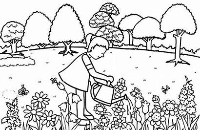 Coloring Garden Pages Water Gardening Pouring Flower