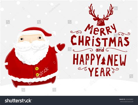 Santa Claus Merry Christmas Label Holiday Stock Vector
