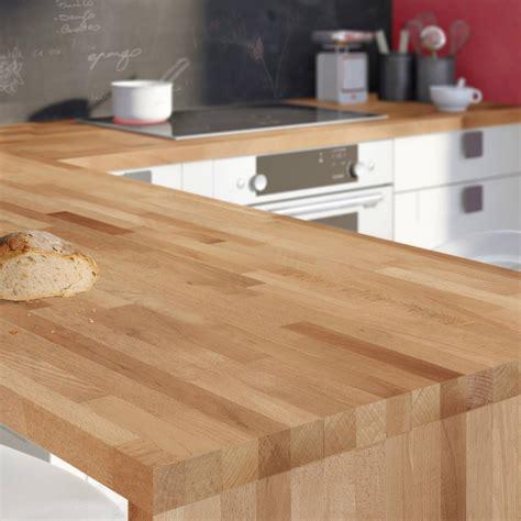 table de cuisine plan de travail plan de travail bois hêtre brut mat l 250 x p 65 cm l 65