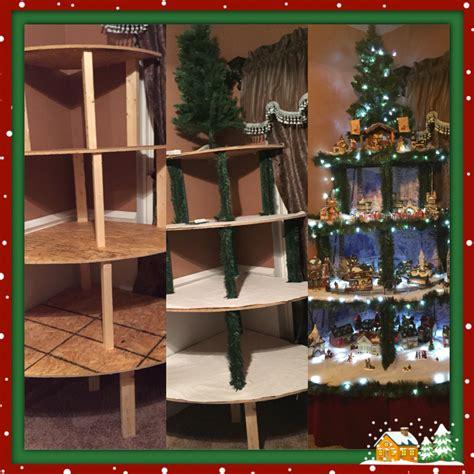 corner christmas tree village display made with 4