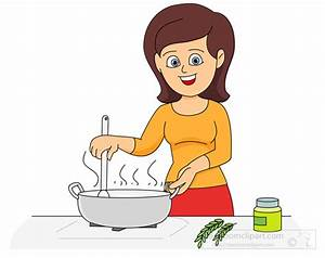 Lady Cooking In Kitchen Clipart - ClipartXtras