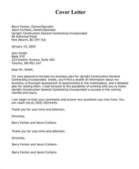 Cover Letter For Business Plan by Sle Cover Letter 9 Exles In Pdf