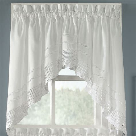 crochet swag valance pair white 58 x 30 touch of class