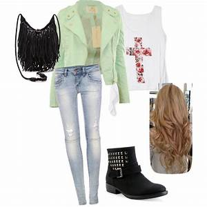 Cute teen fashion girl clothes outfit leather jacket denim jeans biker boots studs style fringe ...