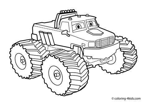 Monster Truck Coloring Page For Kids, Monster Truck