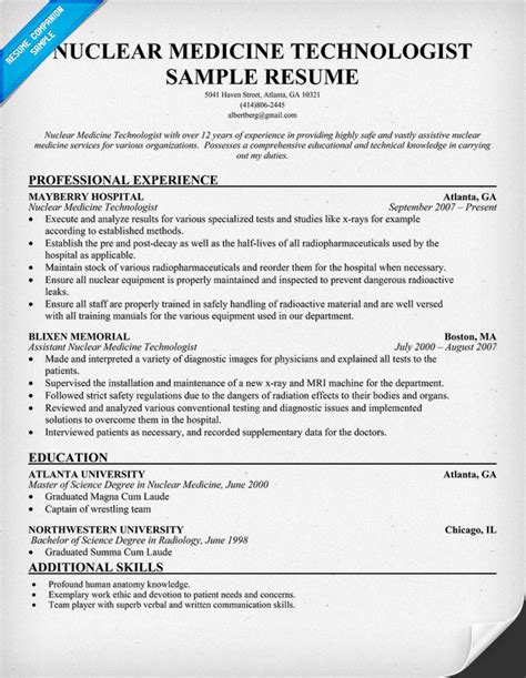 Med Technician Resume by Nuclear Medicine Technologist Resume Free Resume Http Resumecompanion Health