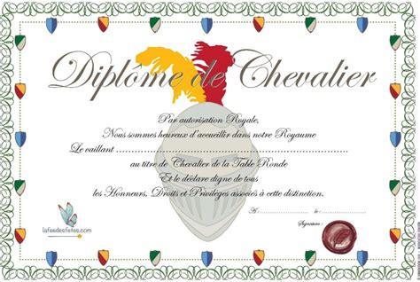 diplome de cuisine a imprimer diplome de chevalier à imprimer