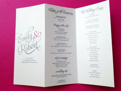 Trifold Template Album Ideas by 25 Wedding Program Brochure Templates